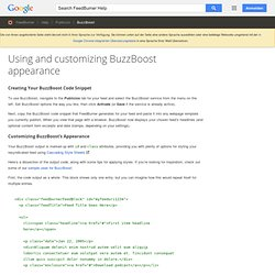 FeedBurner Help Center - Using and customizing BuzzBoost appeara