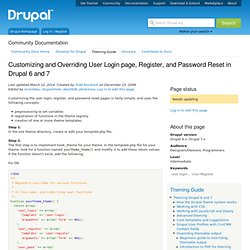 Customizing and Overriding User Login, Register, and Password Re