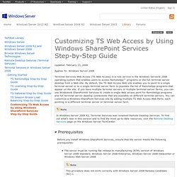 TS Web Access Step-by-Step Guide: Customizing TS Web Access by Using Windows SharePoint Services
