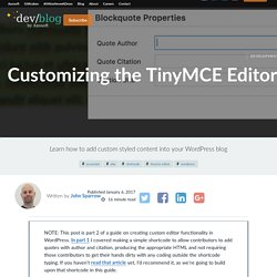 Customizing the TinyMCE Editor to Add Buttons in WordPress