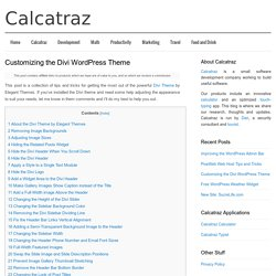 Customizing the Divi WordPress Theme - Calcatraz