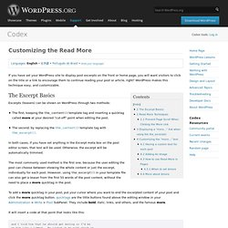 Customizing the Read More