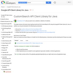 CustomSearch API Client Library for Java - Google API Client Library for Java
