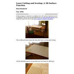 Laser Cutting and Scoring: A 3D Surface Function
