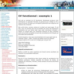 CV fonctionnel : exemple 1