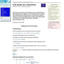 CVS Guide de l'utilisateur