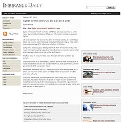 Cyber crime costs UK plc £21bn a year : Insurance Daily