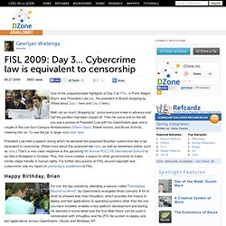 FISL 2009: Day 3... Cybercrime law is equivalent to censorship