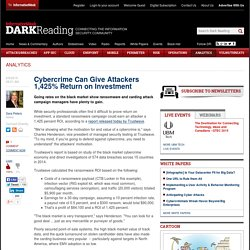 Cybercrime Can Give Attackers 1,425% Return on Investment