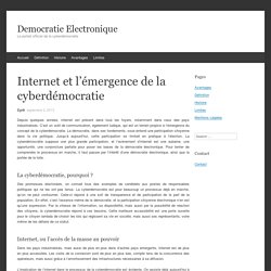 Internet et l'émergence de la cyberdémocratie - Democratie Electronique