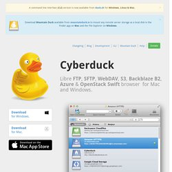 Cyberduck – FTP, SFTP, WebDAV, Cloud Files, Google Docs & Amazon S3 Browser for Mac & Windows.
