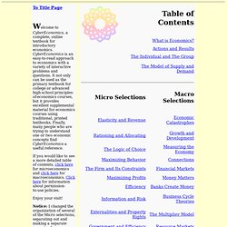 CyberEconomics: Table of Contents