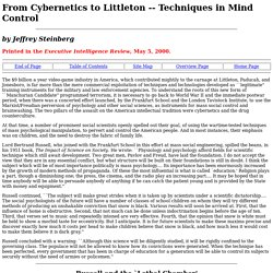 From Cybernetics to Littleton: Techniques of Mind Control