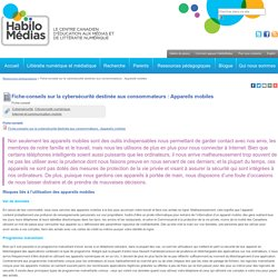 Fiche-conseils sur la cybersécurité destinée aux consommateurs : Appareils mobiles