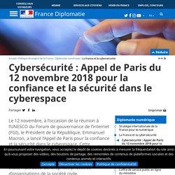 Cybersécurité : Appel de Paris du 12 novembre 2018 pour la confiance et la sécurité dans le cyberespace