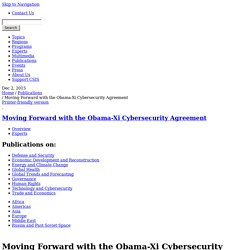 Moving Forward with the Obama-Xi Cybersecurity Agreement