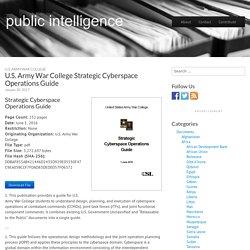 U.S. Army War College Strategic Cyberspace Operations Guide