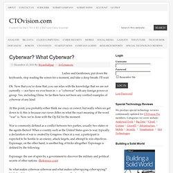 Cyberwar? What Cyberwar?