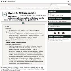 Cycle 3. Nature morte- Arts plastiques