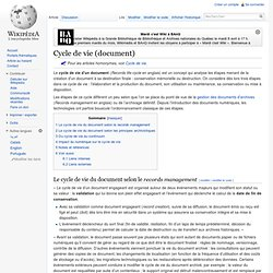 Cycle de vie (document)