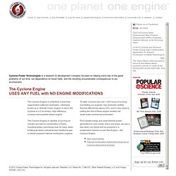 Cyclone Power Technologies - Cyclone Engine