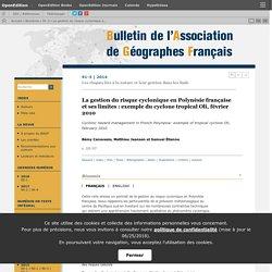 La gestion du risque cyclonique en Polynésie française et ses limites: exemple du cyclone tropical Oli, février 2010