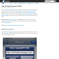 Top 10 Cydia Repos (Sources) of 2011 | Jaxov
