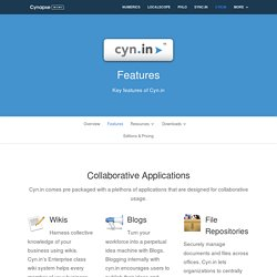 Cyn.in Features - Enterprise 2.0 Collaborative and Social applications, Secure workspaces, Content management, Search