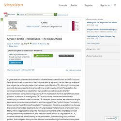 Cystic Fibrosis Therapeutics: The Road Ahead