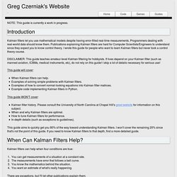 Greg Czerniak's Website - Kalman Filters for Undergrads 1