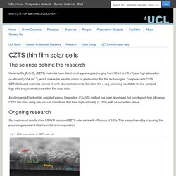 CZTS thin film solar cells