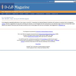 D-Lib Forum and D-Lib Magazine