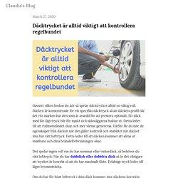 Däcktrycket är alltid viktigt att kontrollera regelbundet — Claudia's Blog