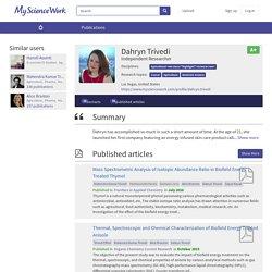 Dahryn Trivedi – Biofield Publications - MyScienceWork