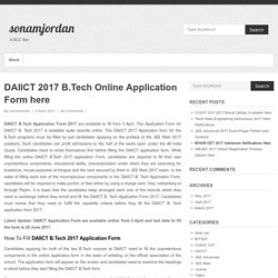 DAIICT 2017 B.Tech Online Application Form here