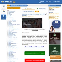 Daily Current Affairs 04th March 2017 with FREE PDF