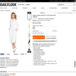 DAILYLOOK Artist Cotton Midi Dress in White XS - L
