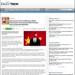 Anonymous China Defaces, Steals Information from Almost 500 Chinese Gov/Corporate Websites