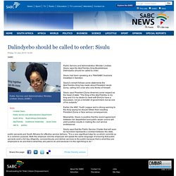 Dalindyebo should be called to order: Sisulu:Friday 12 July 2013