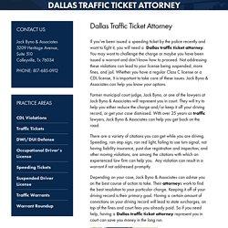 Dallas Traffic Ticket Attorney, Traffic Ticket Attorney Dallas