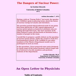 The Dangers of Nuclear Power: An Open Letter to Physicists