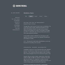 Daring Fireball: Markdown Basics
