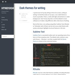 Dark themes for writing