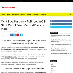 Cent Swa Darpan Hrms Login CBI Staff Portal From Central Bank of India