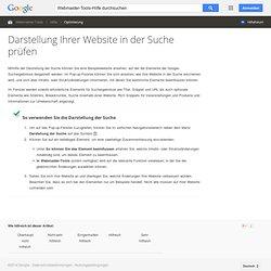 Darstellung Ihrer Website in der Suche prüfen - Webmaster-Tools-Hilfe
