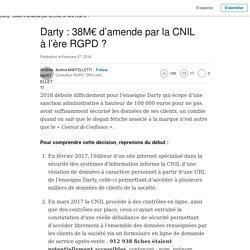 Darty : 38M€ d'amende par la CNIL à l'ère RGPD ?