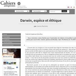 Darwin, espèce et éthique