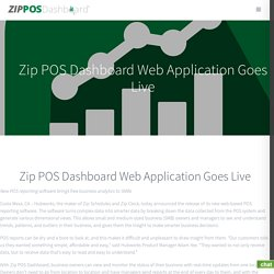 Zip POS Dashboard Web Application Goes Live - Zip POS Dashboard