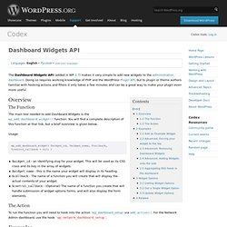 Dashboard Widgets API