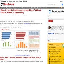 Make Dynamic Dashboards using Excel 2010 [Video Tutorial & FREE Download Workbook]